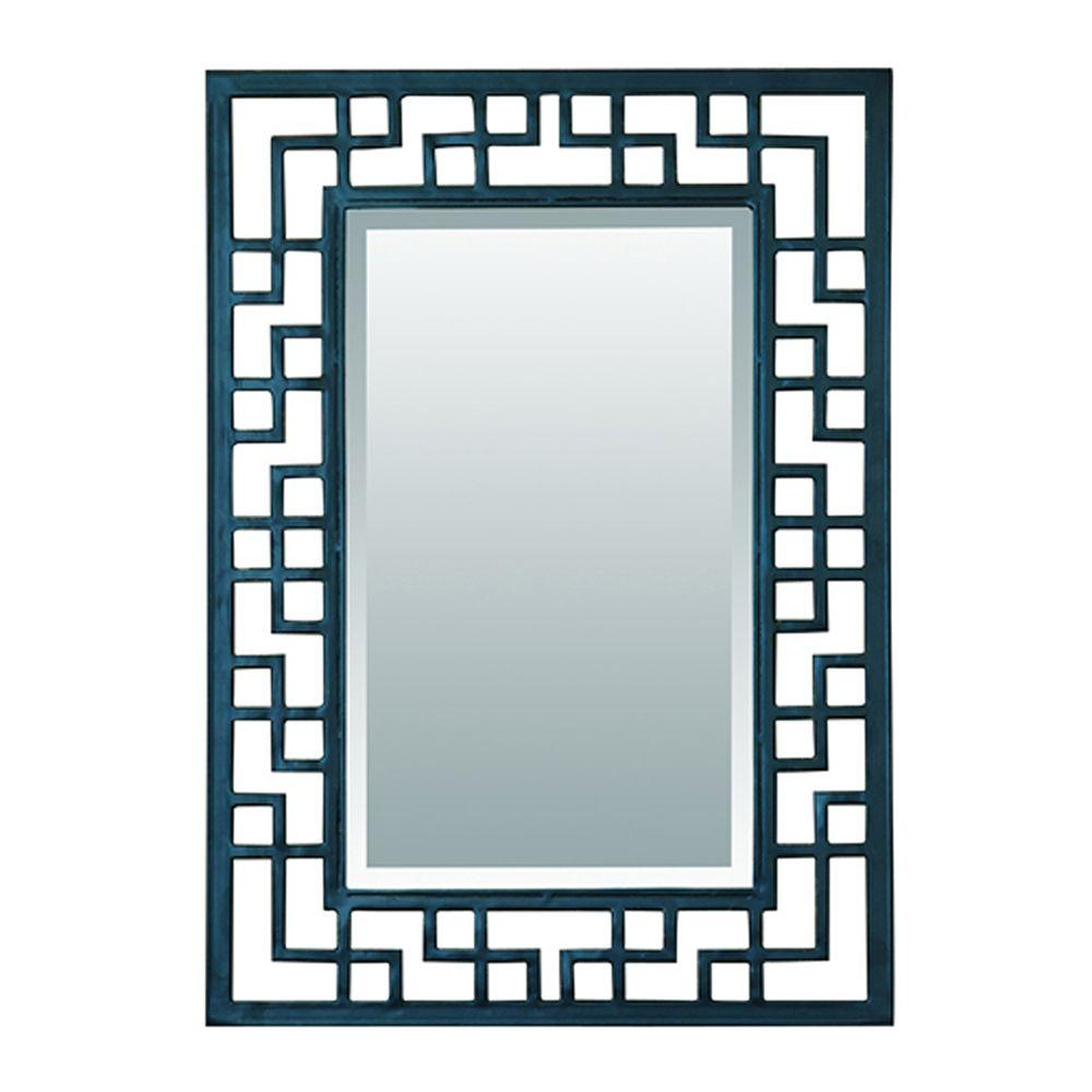 Yosemite Home Decor 20 in. x 28 in. Asian-Inspired Iron Decorative Matte Black Framed Mirror