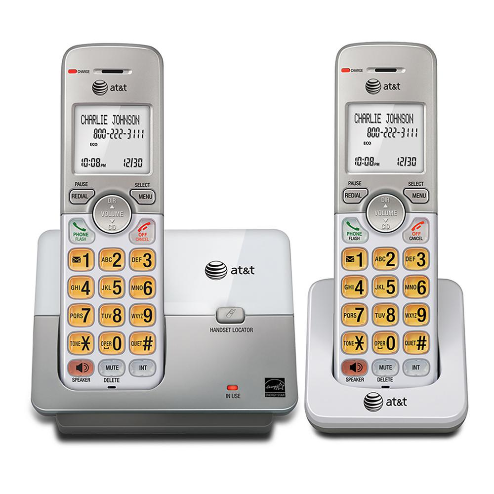 At And T 2 Handset Cordless Phone System With Caller Id And Call Waiting El51203 The Home Depot