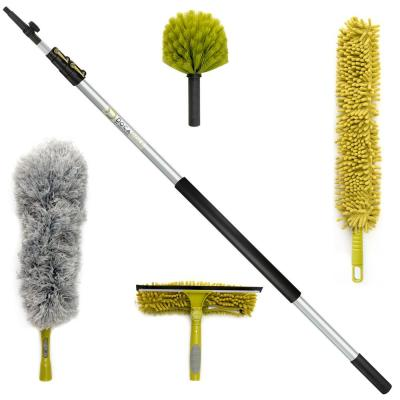 High Reach Cleaning Kit with 12 ft. Extension Pole, Window Squeegee, Microfiber, Feather, Cobweb and Fan Dusters