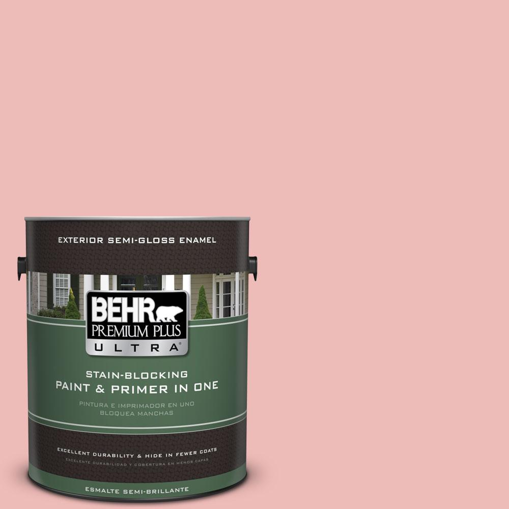 BEHR Premium Plus Ultra 1-gal. #BIC-04 Pink Taffy Semi-Gloss Enamel ...