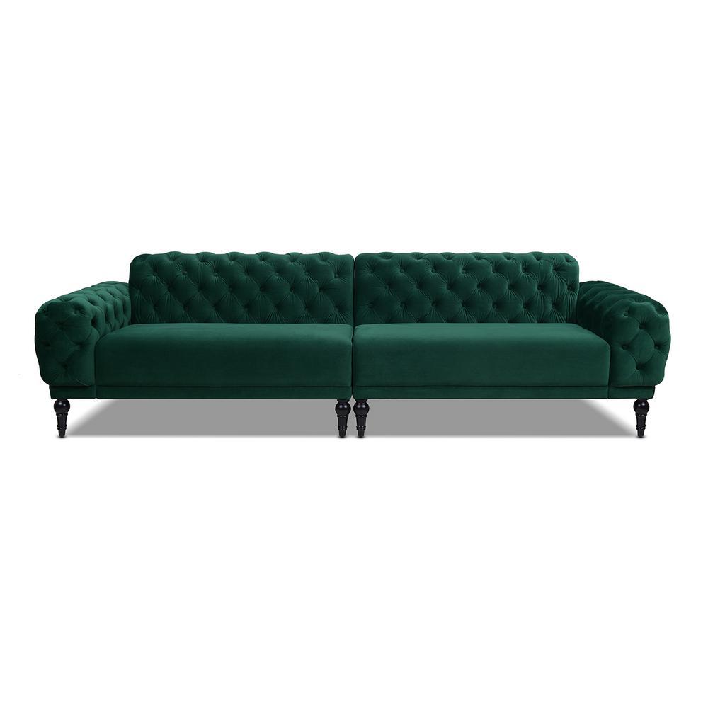Tappman 2-Piece Evergreen Button-Tufted Velvet 4-Seater Modular Chesterfield Sectional Sofa