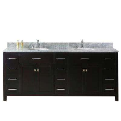 Caroline Parkway 79 in. W Bath Vanity in Espresso with Marble Vanity Top in White with Round Basin
