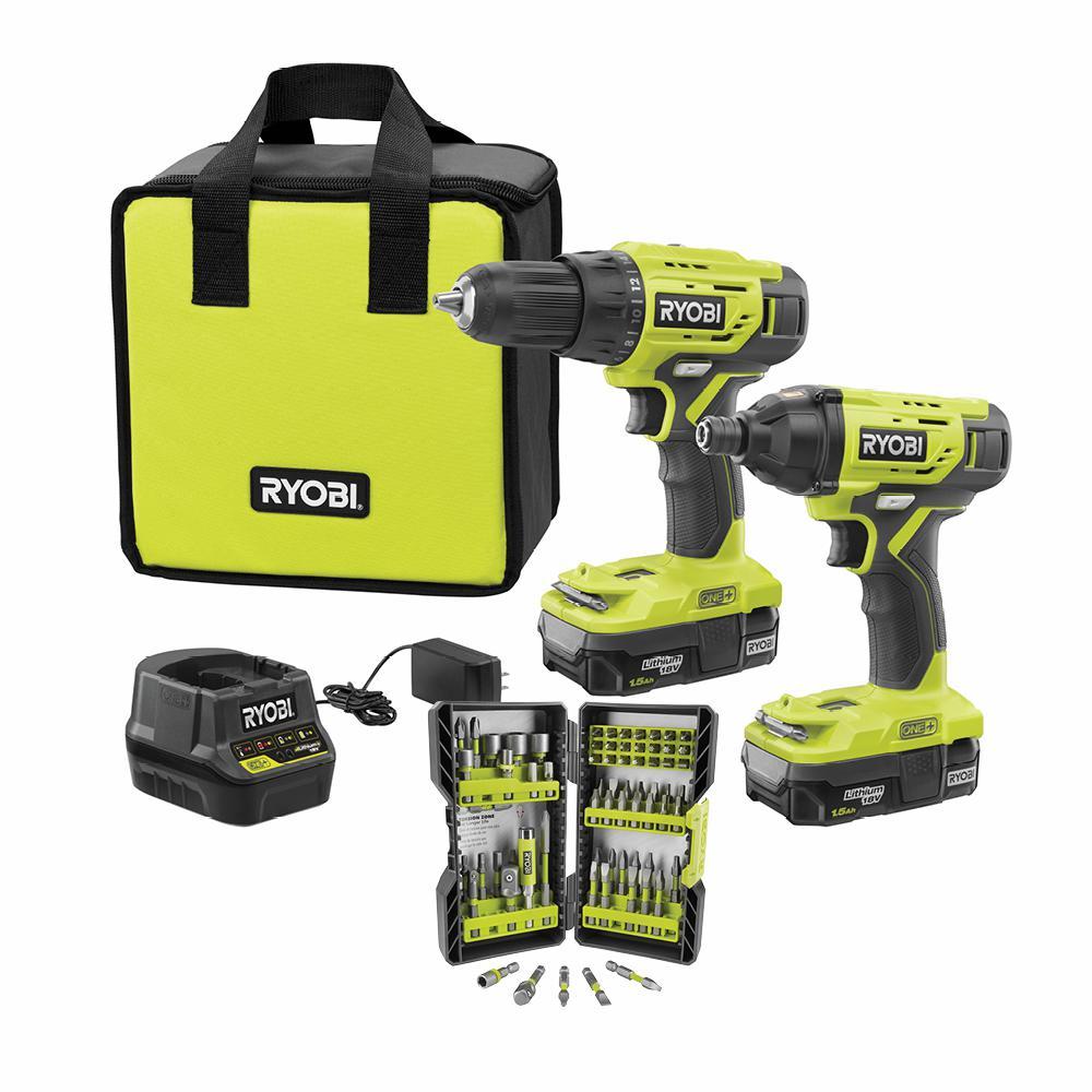 RYOBI 18-Volt ONE+ Cordless 2-Tool Combo Kit w/ (2) 1.5Ah Batteries, Charger & Bag w/ BONUS Impact Rated Driving Kit (70Piece)