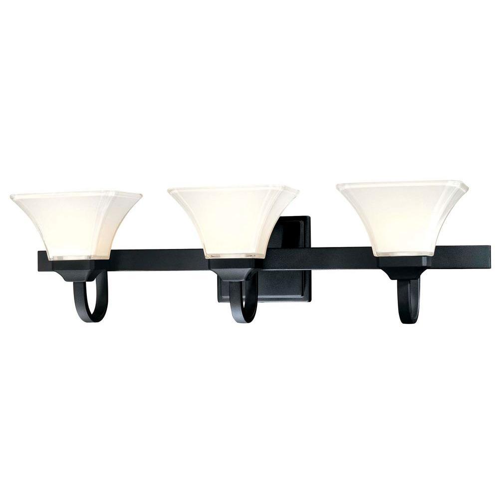 Agilis 3-Light Black Bath Light