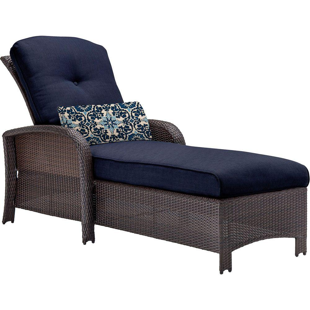 Hanover Strathmere All Weather Wicker Patio Chaise Lounge With Navy Blue  Cushion