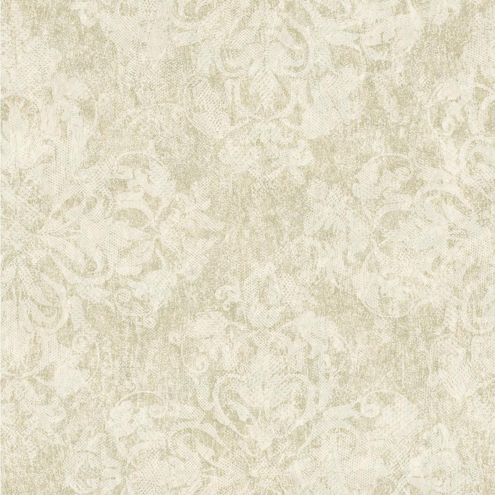 Chesapeake Leia Olive Lace Damask Wallpaper VIR98243