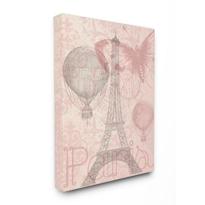"30 in. x 40 in. ""Eiffel Tower Hot Air Balloon Paris"" by Daphne Polselli Printed Canvas Wall Art"