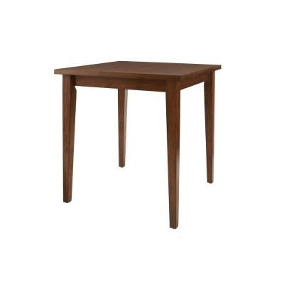 StyleWell Walnut Finish Wood Square Bar Table for 4 (36 in. D x 36 in. H)