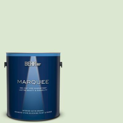 Behr Marquee 1 Gal T12 18 Minty Frosting Satin Enamel Exterior Paint And Primer In One 945001 The Home Depot