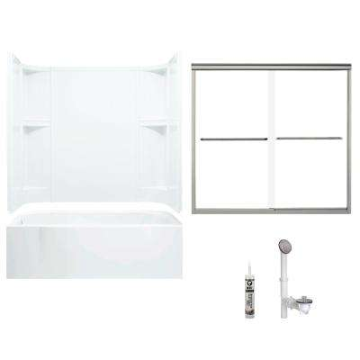 Accord 30 in. x 60 in. x 72 in. Bath and Shower Kit with Left-Hand Drain in White and Brushed Nickel