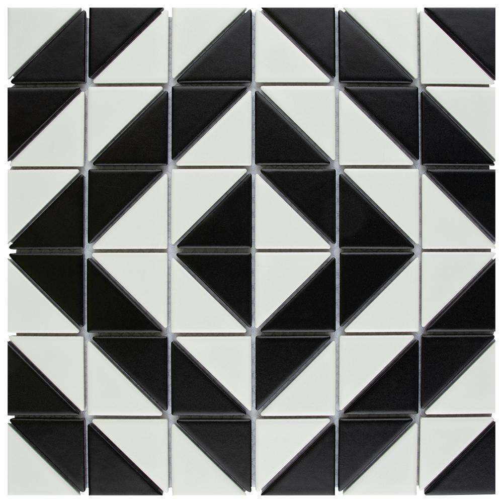 Merola Tile Tre Duel Boomerang White And Black 10 3 4 In X 6 Mm Porcelain Mosaic