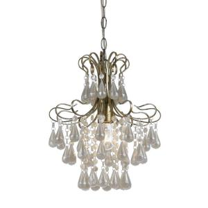 tiffany 1light soft gold mini chandelier with white plastic pearl accents