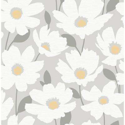 Astera Grey Floral Grey Paper Strippable Roll (Covers 56.4 sq. ft.)