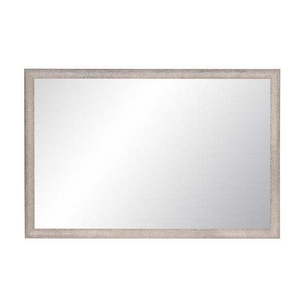 Large Rectangle Distressed Gray/White Hooks Modern Mirror (47.5 in. H x 29.5 in. W)