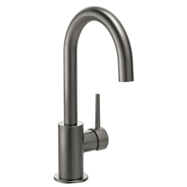 Contemporary Single-Handle Bar Faucet in Black Stainless