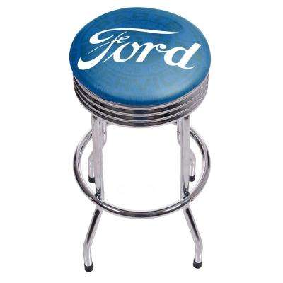 Genuine Parts 29 in. Chrome Swivel Cushioned Bar Stool