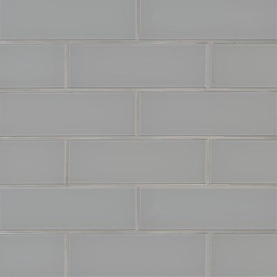 Oyster Gray 4 in. x 12 in. Glossy Glass Wall Tile (5 sq. ft. / case)