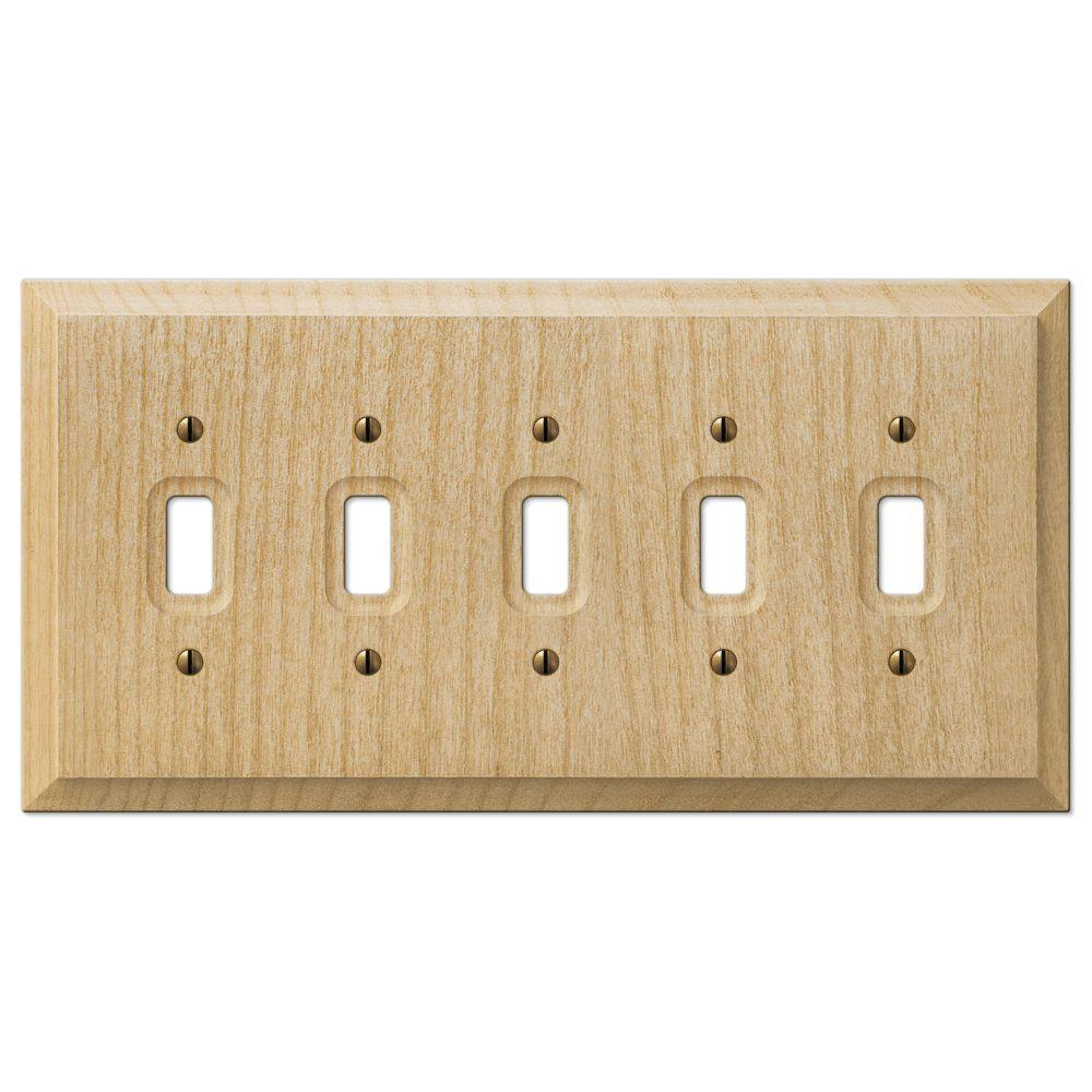 Hampton Bay Baker 5 Toggle Wall Plate Unfinished Wood