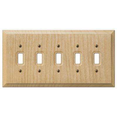 Baker 5 Toggle Wall Plate - Unfinished Wood