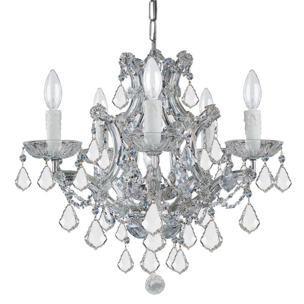 Maria Theresa 6-Light Clear Italian Crystal Chrome Mini Chandelier