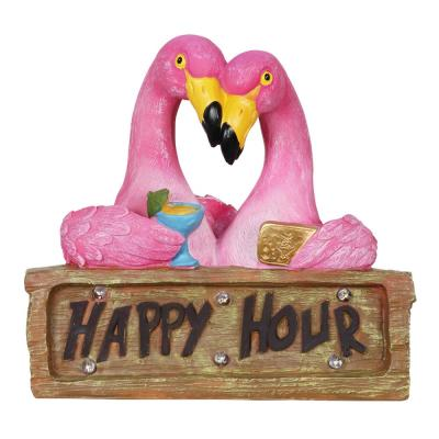 Solar Happy Hour Flamingos Statue