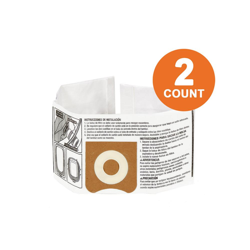 RIDGID High-Efficiency Size C Dust Bags for 3.0 Gal. to 4.5 Gal. for RIDGID Wet/Dry Vacs (2-Pack)