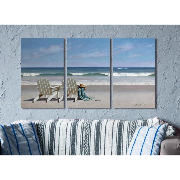 The Stupell Home Decor Collection 16 X 24 Two White Adirondack Chairs With Towel On The Beach Triptych By Zhen Huan Lu Canvas Wall Art Twp 254 Cn 3pc 16x24 The Home Depot