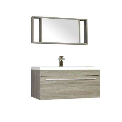 The Modern 35.25 in. W x 18.75 in. D Bath Vanity in Gray with Acrylic Vanity Top in White with White Basin and Mirror