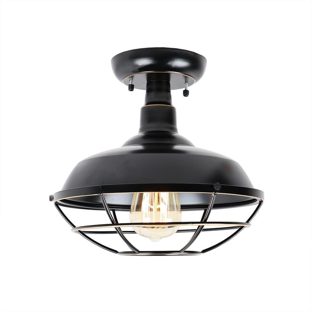 Unbranded Small 1 Light Imperial Black Outdoor Ceiling Light Semi Flush Mount El809sfib The Home Depot