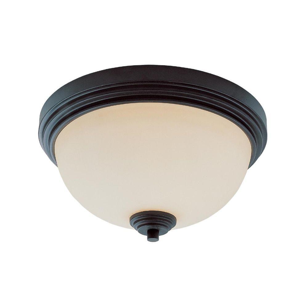 Lawrence 2-Light Dark Bronze Incandescent Ceiling Flushmount