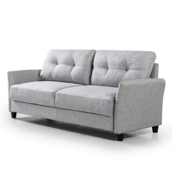 Ricardo 31.52 in. Soft Grey Polyester 3-Seater Lawson Sofa with Removable Cushions