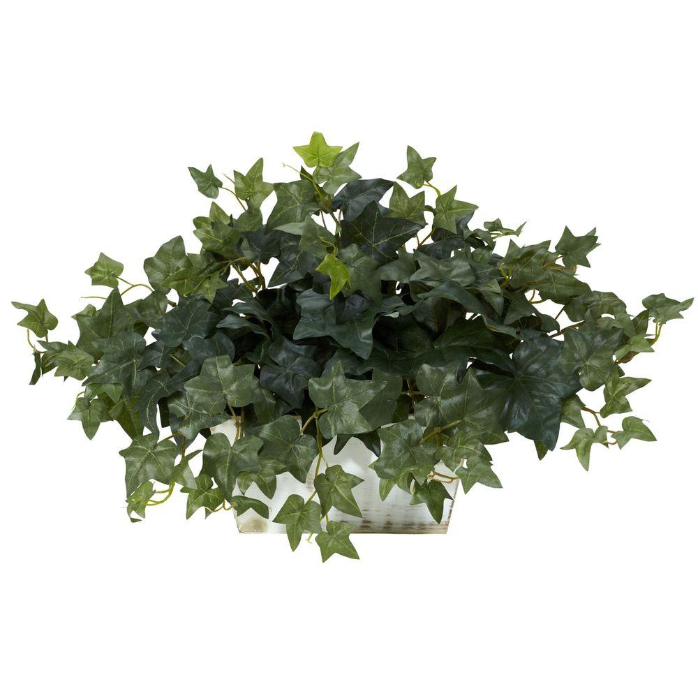 14 in. H Green Ivy with White Wash Planter Silk Plant