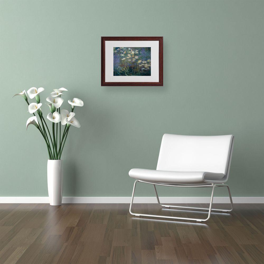 Trademark Fine Art 11 in. x 14 in. Waterlilies 1840-1926 Matted Brown Framed Wall Art
