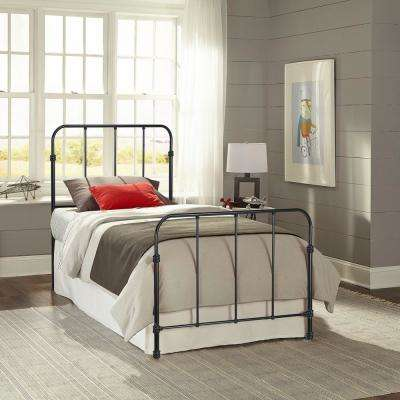 Nolan Space Black Twin Headboard and Footboard with Metal Duo Panels