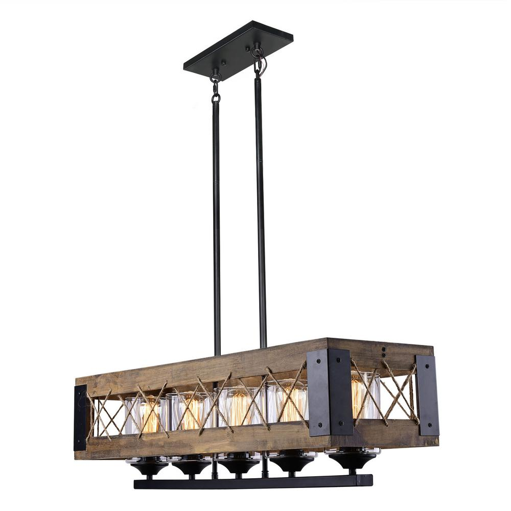 LNC 5-Light Black Wood Chandelier with Clear Glass Shade