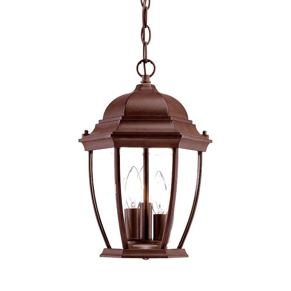 Wexford Collection Hanging Lantern 3-Light Outdoor Burled Walnut Light Fixture