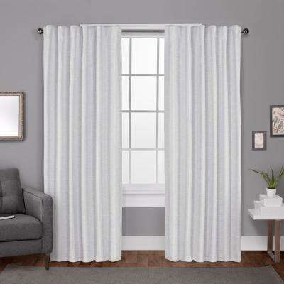 Zeus 52 in. W x 108 in. L Woven Blackout Hidden Tab Top Curtain Panel in Winter White (2 Panels)