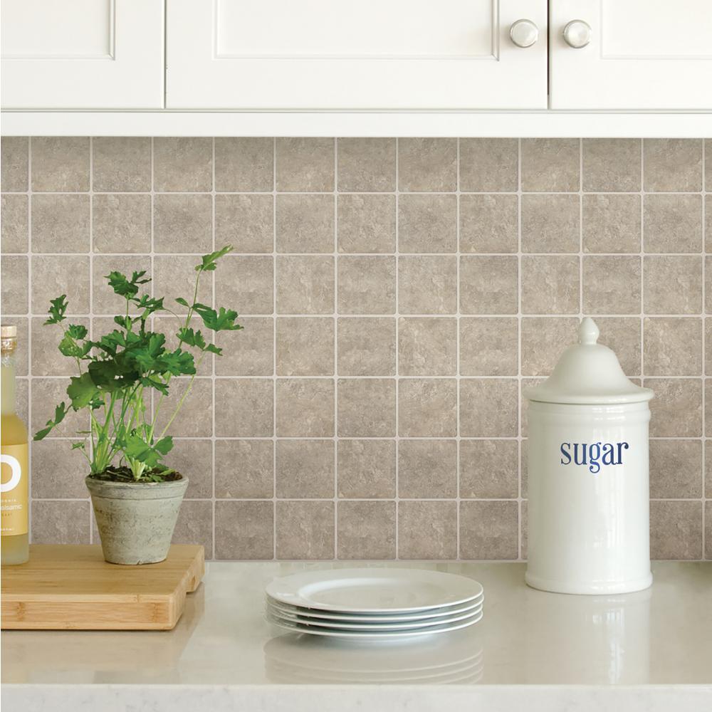 Neutral Travertine Squares Peel Stick Backsplash Tiles