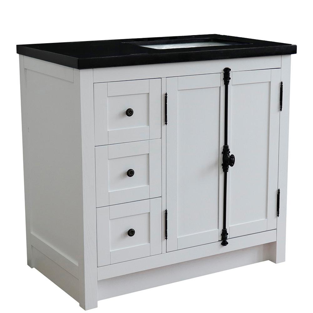 37 in. W x22 in. D x 36 in. H Bath Vanity in Glacier Ash with Black Granite Vanity Top and Right Side Rectangular Sink