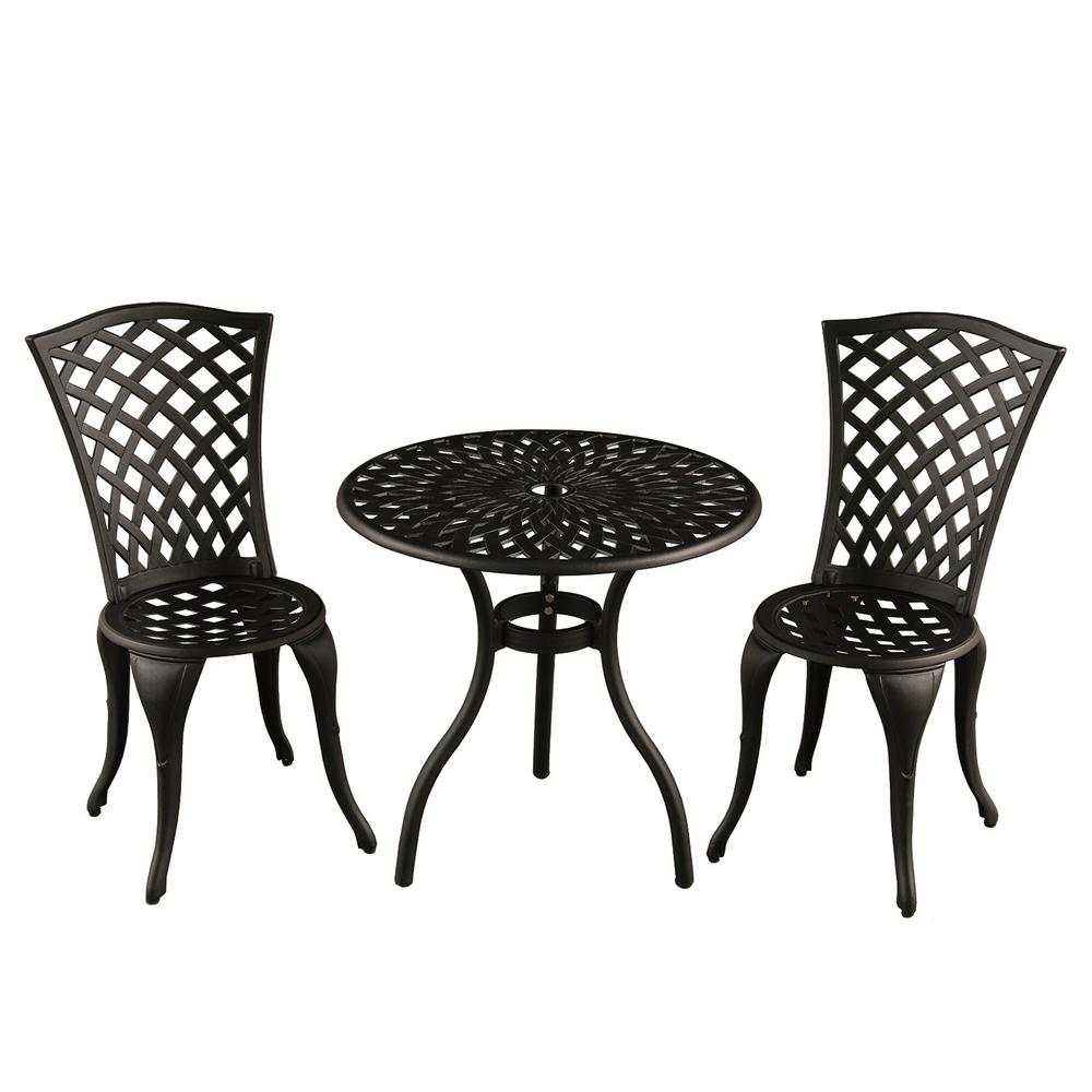 Contemporary Modern 3 Piece Aluminum Mesh Lattice Outdoor Patio Garden Bistro Set In Sand Black Hd1023 Sb The Home Depot