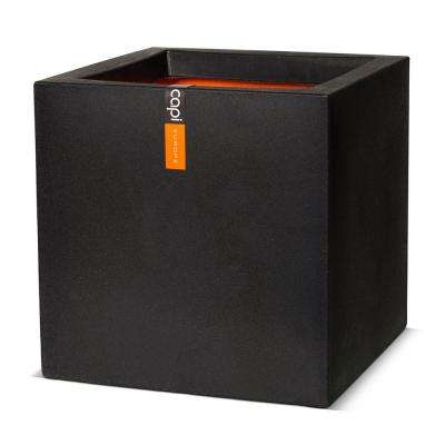 Black Plastic Square Smooth Planter Pot