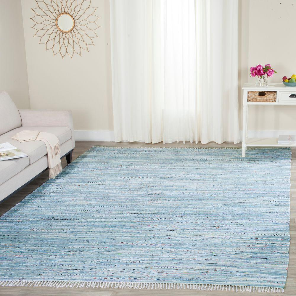 Safavieh Rag Rug Turquoise Multi 8 Ft X 10 Ft Area Rug: Safavieh Rag Rug Light Blue/Multi 8 Ft. X 10 Ft. Area Rug