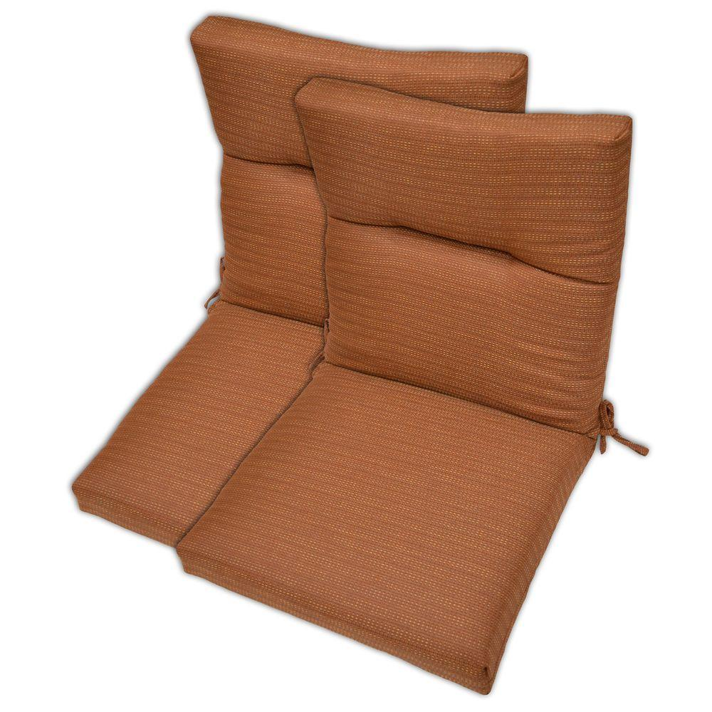 Plantation Patterns Nutmeg Textured High Back Outdoor Chair Cushion (2-Pack)-DISCONTINUED