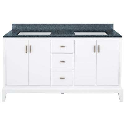 Shaelyn 61 in. W x 22 in. D Bath Vanity in White with Granite Vanity Top in Blue Pearl with White Sinks