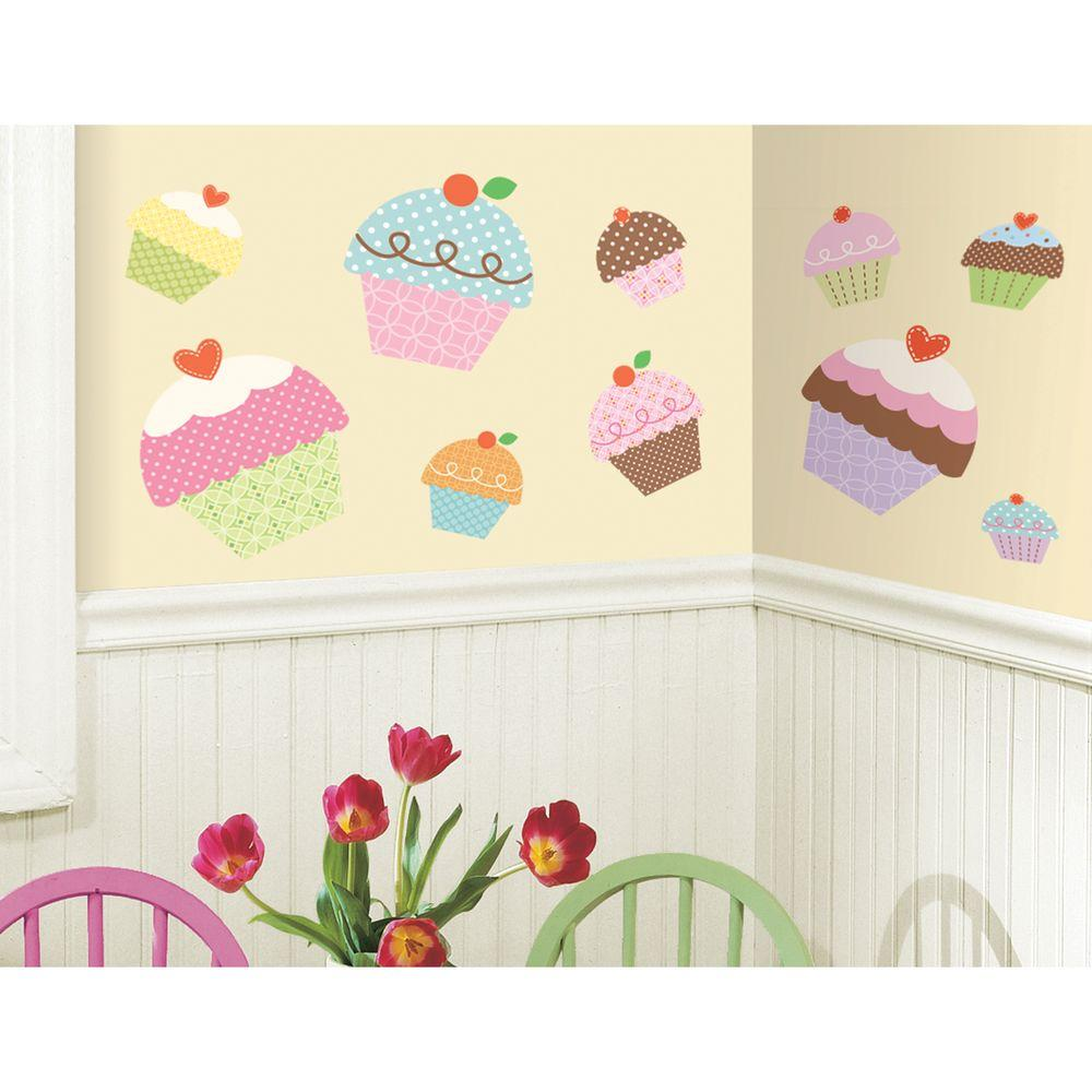 18 in. x 40 in. Happi Cupcake 10-Piece Peel and Stick