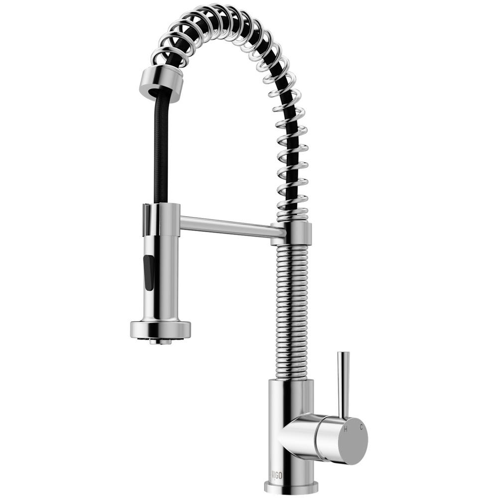 Vigo Edison Single Handle Pull Down Sprayer Kitchen Faucet In Chrome