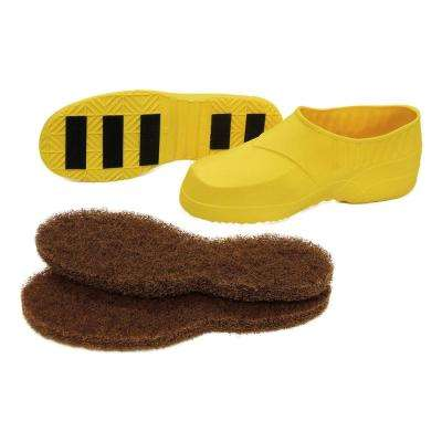 Large Yellow Floor Stripping Protective Boots Plus (1 Pair of Boots with 2 Pairs of Replacement Soles)