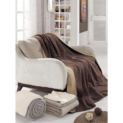 80 in. W x 90 in. L Dark Brown and Tan Reversible Soft Cotton Cozy Fleece Patterned Blanket