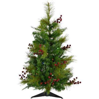 3 ft. Newberry Pine Artificial Tree with Battery-Operated Multi-Colored LED String Lights