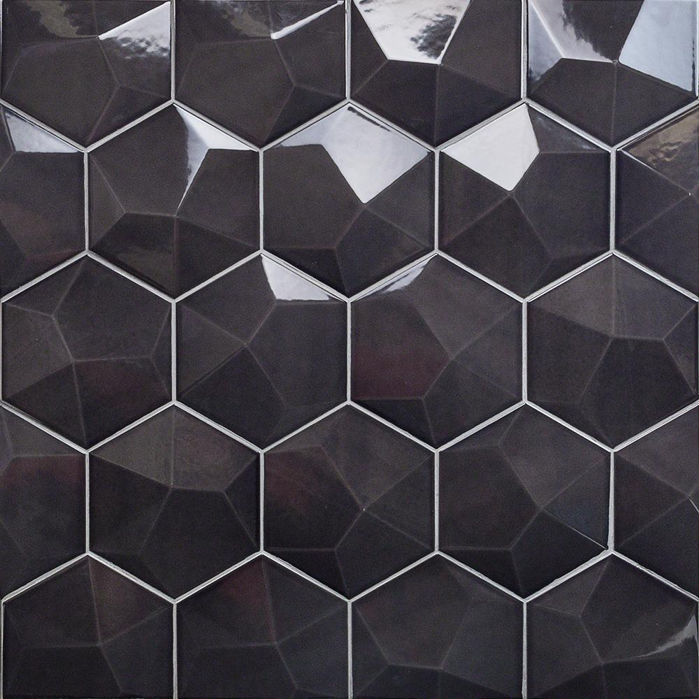 Ivy Hill Tile Bethlehem 3D Hexagon Dark Gray 5.9 in. x 6.96 in. x 8mm Polished Ceramic Wall Tile (25 pieces / 5.4 sq. ft. / box)